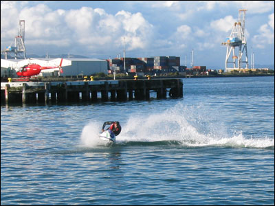 surf ski on the harbour