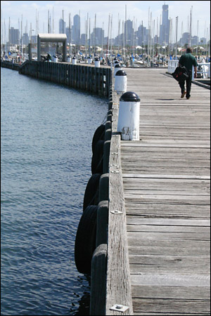 pier and a man